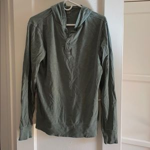 Hooded Green Long Sleeve Buttons